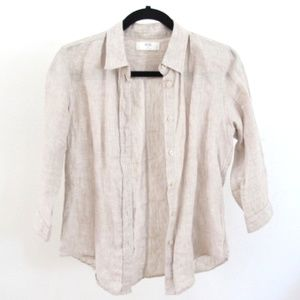 Uniqlo 3/4 Button Down Collared Linen Blouse
